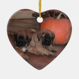 Mastiff heart supporter ceramic heart decoration