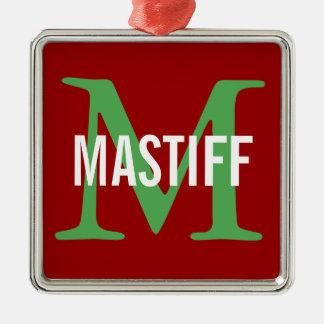 Mastiff Monogram Silver-Colored Square Decoration