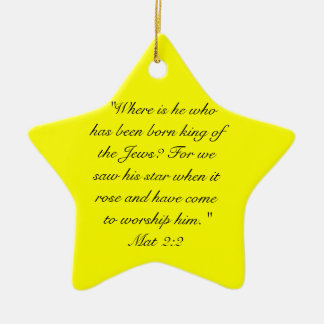 Mat 2:10  When they saw the star, they rejoiced ex Christmas Ornament