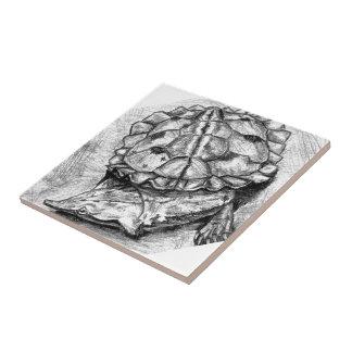 Matamata turtle ceramic tile