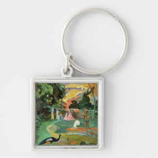 Matamoe or, Landscape with Peacocks, 1892 Silver-Colored Square Key Ring
