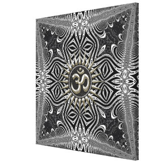 Matanya Silver Aum Star B+W Tribal Wrapped Canvas Stretched Canvas Print