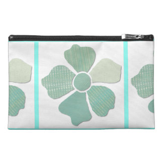 Match Any Color Faux Fabric Collage Flower Travel Accessory Bags