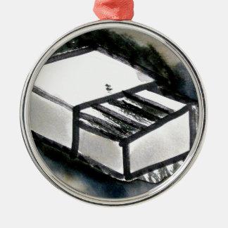 match box Silver-Colored round decoration