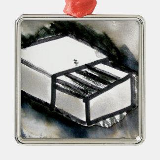 match box Silver-Colored square decoration