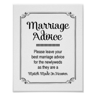 Match Made In Heaven Marriage Advice Sign Poster