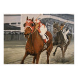 Match Race – Seabiscuit vs. War Admiral Painting 13 Cm X 18 Cm Invitation Card