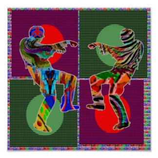 Match Wall Decorations : ZOMBIE DANCE Moon Circles Print