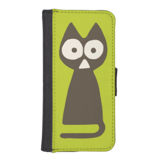 Matcha Green Brown Triangle Cat iPhone SE/5/5s Wallet Case