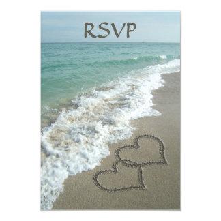 Matching Sand Hearts on the Beach, Romantic Ocean 9 Cm X 13 Cm Invitation Card
