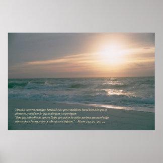 Mateo 5: 44, 45 con Salida del Sol Posters