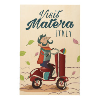 Matera Italy Cartoon Scooter travel print