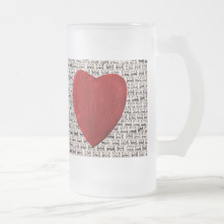 Material background with heart frosted glass beer mug