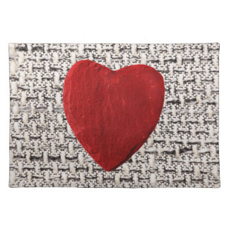 Material background with heart placemats