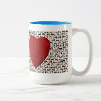 Material background with heart Two-Tone coffee mug