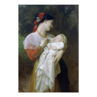 Maternal Admiration by William Adolphe Bouguereau Poster