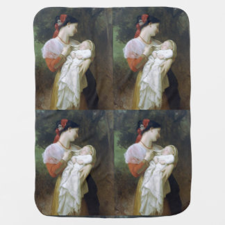 Maternal Admiration by William Adolphe Bouguereau Swaddle Blanket