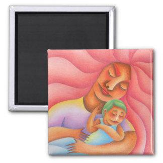 Maternidad acuarela y lápiz de color arte. Mom. Square Magnet
