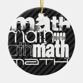 Math; Black & Dark Gray Stripes Double-Sided Ceramic Round Christmas Ornament