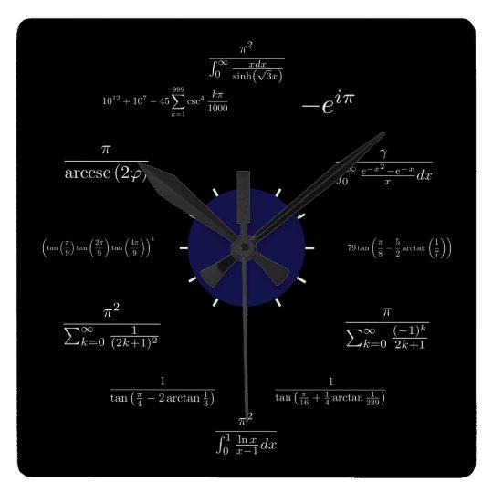 Math (black) square wall clock