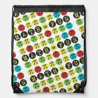 Math equals Fun - Funny Pi Gift - Colorful Mod Pi Drawstring Backpacks