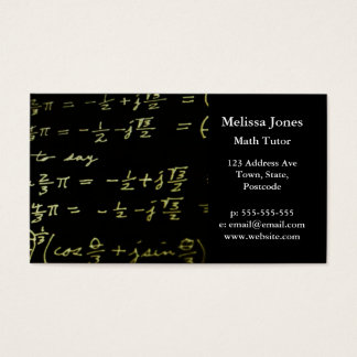 Math equations blackboard maths tutor / teacher business card
