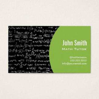 Math Equations Math Tutor Business Card (green)