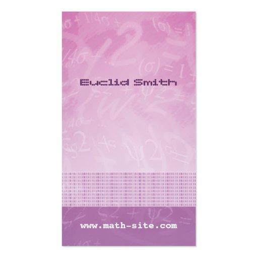 Math Equations Pink Purple Business Card