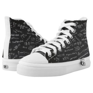 Math Formulas And Numbers On Blackboard Printed Shoes
