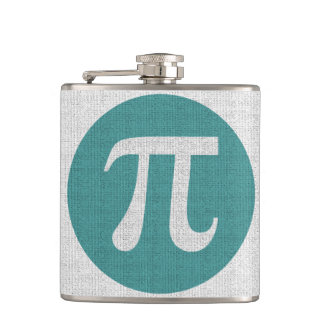 Math geek Pi symbol, blue circle and digits. Hip Flask