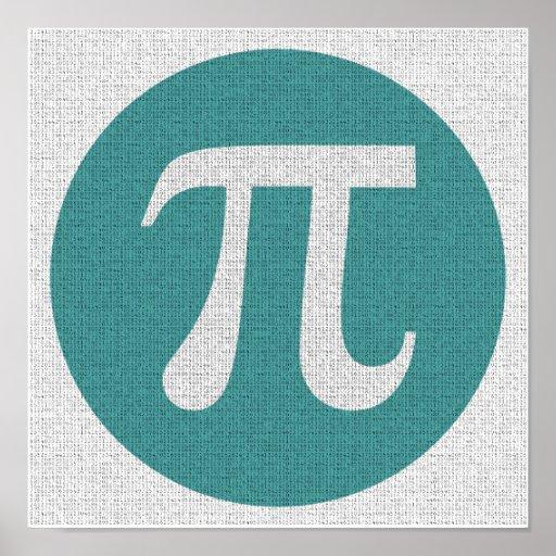 Math geek Pi symbol, blue circle and digits.