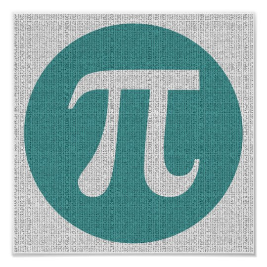 Math geek Pi symbol, blue circle and digits.