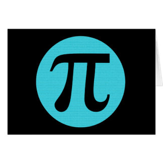 Math geek Pi symbol, blue on black Note Card