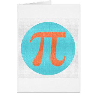 Math geek Pi symbol, orange and blue Note Card