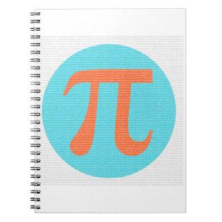 Math geek Pi symbol, orange and blue Notebook
