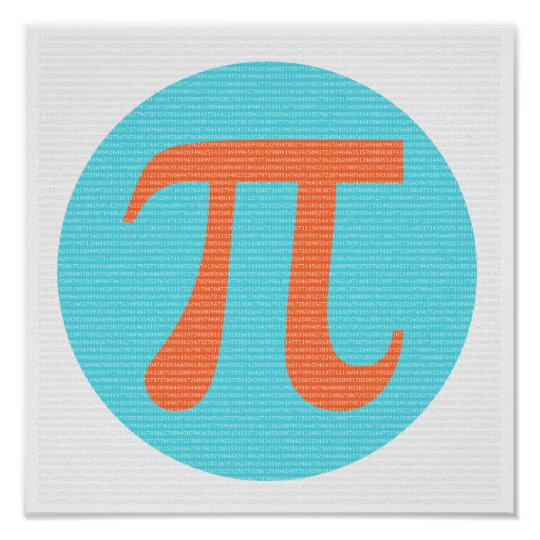 Math geek Pi symbol, orange and blue Poster
