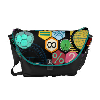math love black messenger bag