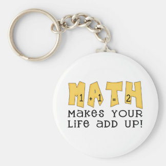 Math Makes Your Life Add Up Tshirts and Gifts Basic Round Button Key Ring