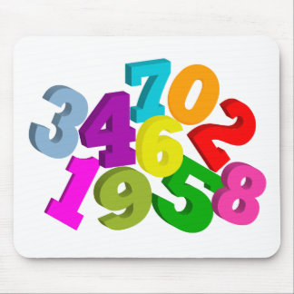 math numbers in color mouse pad