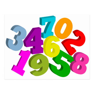 math numbers in color post cards