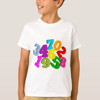 math numbers in color t-shirts