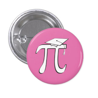 Math Pi Graduate - Pink and White 3 Cm Round Badge