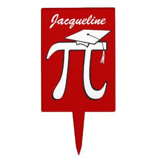 Math Pi Graduate - Red and White Graduation Cake Pick