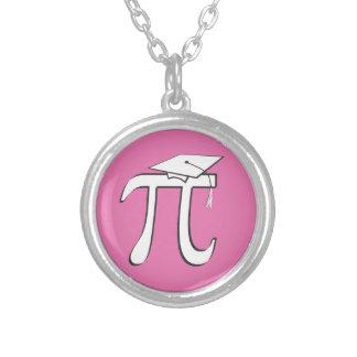 Math Pi PINK Graduate Round Pendant Necklace