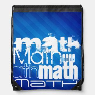 Math; Royal Blue Stripes Drawstring Bag