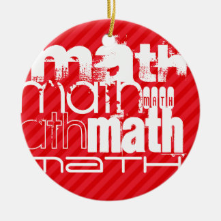 Math; Scarlet Red Stripes Double-Sided Ceramic Round Christmas Ornament