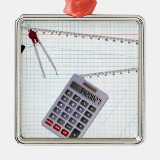 Math Silver-Colored Square Decoration