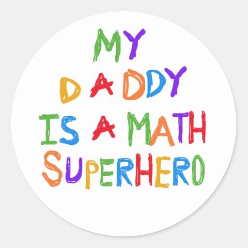 Math Superhero Round Stickers