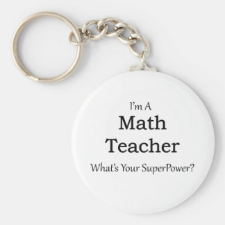 Math Teacher Basic Round Button Key Ring