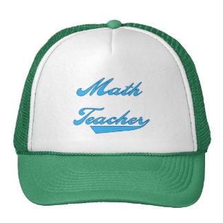 Math Teacher Blue Text Tshirts and Gifts Mesh Hat